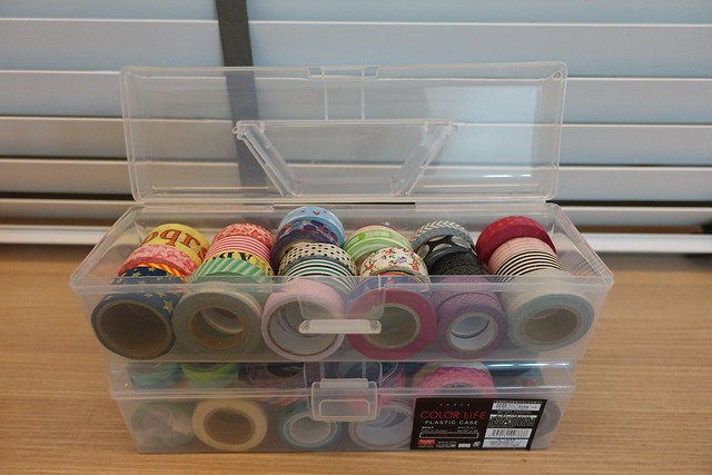 My collection of Washi tapes packed in Daiso storage boxes.