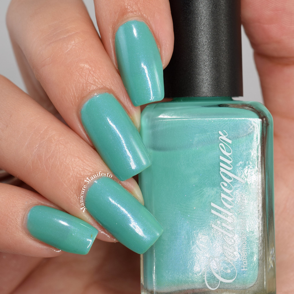 Mint green shimmer polish