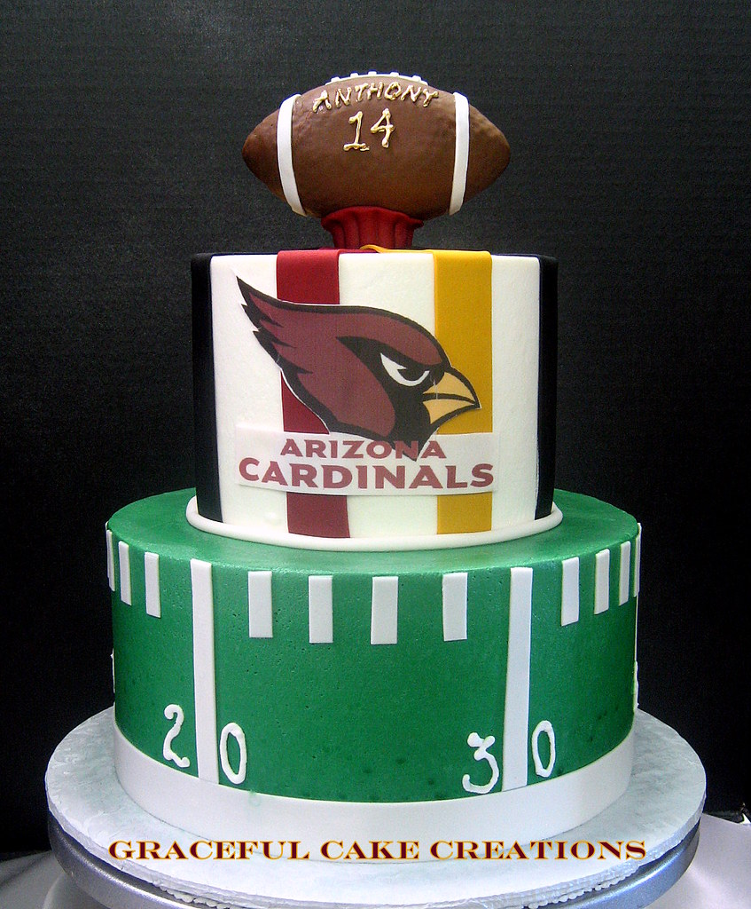 Arizona Cardinals Themed Birthday Cake