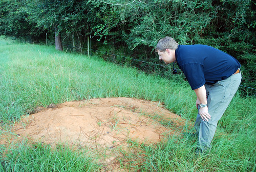 Bradley Williams, NRCS soil conservationist, inspecting one of several active gopher tortoise burrows