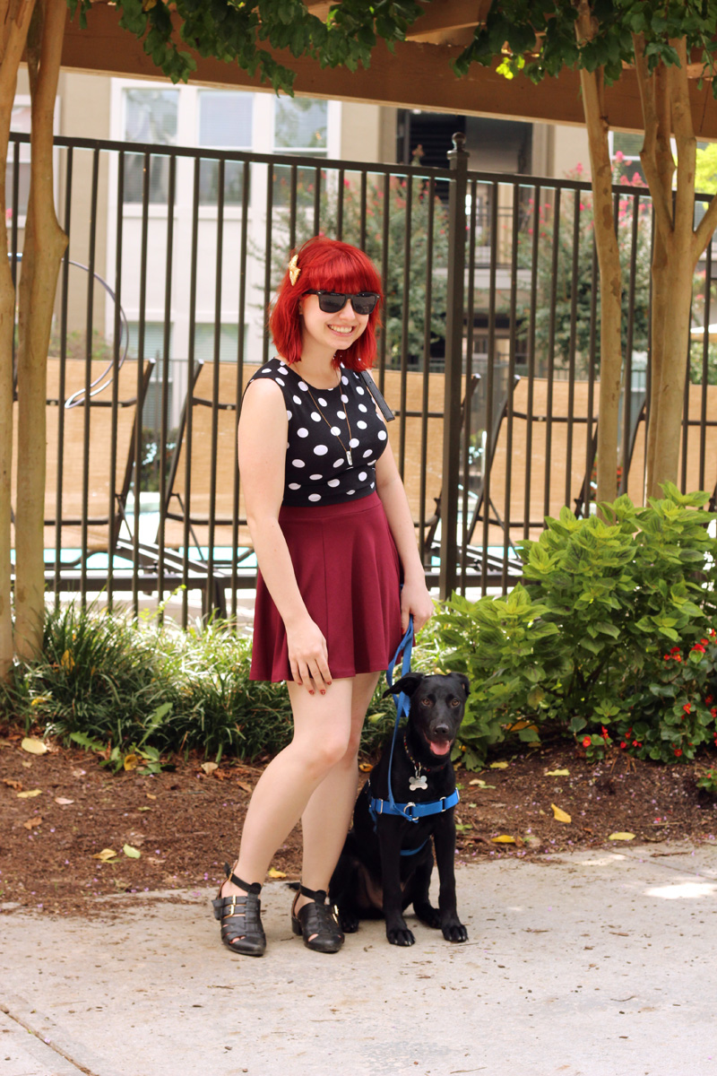 Outfit Picture with a Puppy: Polka Dot Sleeveless Shirt, H&M Maroon Skater Skirt, Wayfarer Sunglasses, and Pointed Ankle Boots