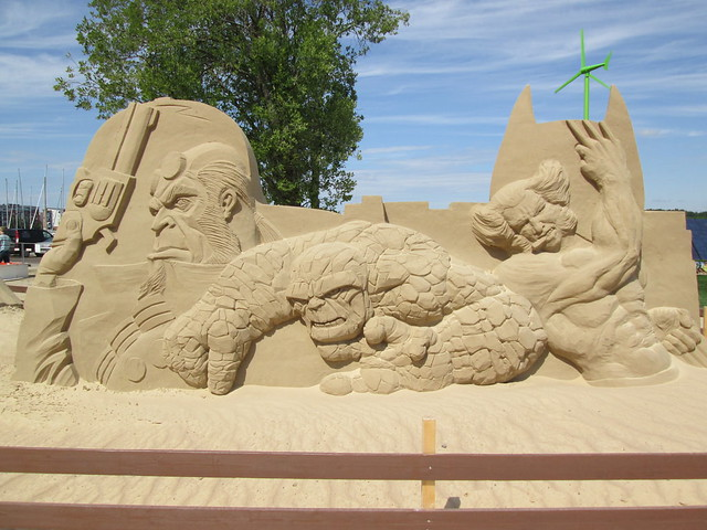 Hellboy, The Thing and Wolverine Sand Sculpture