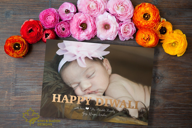 "Printable Diwali greeting card with rose gold foil image of ""Happy Diwali""."