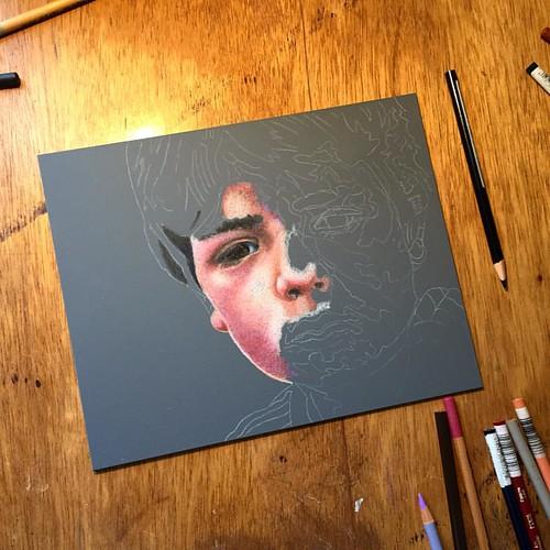 In progress colored pencil portrait entitled Emre, 7