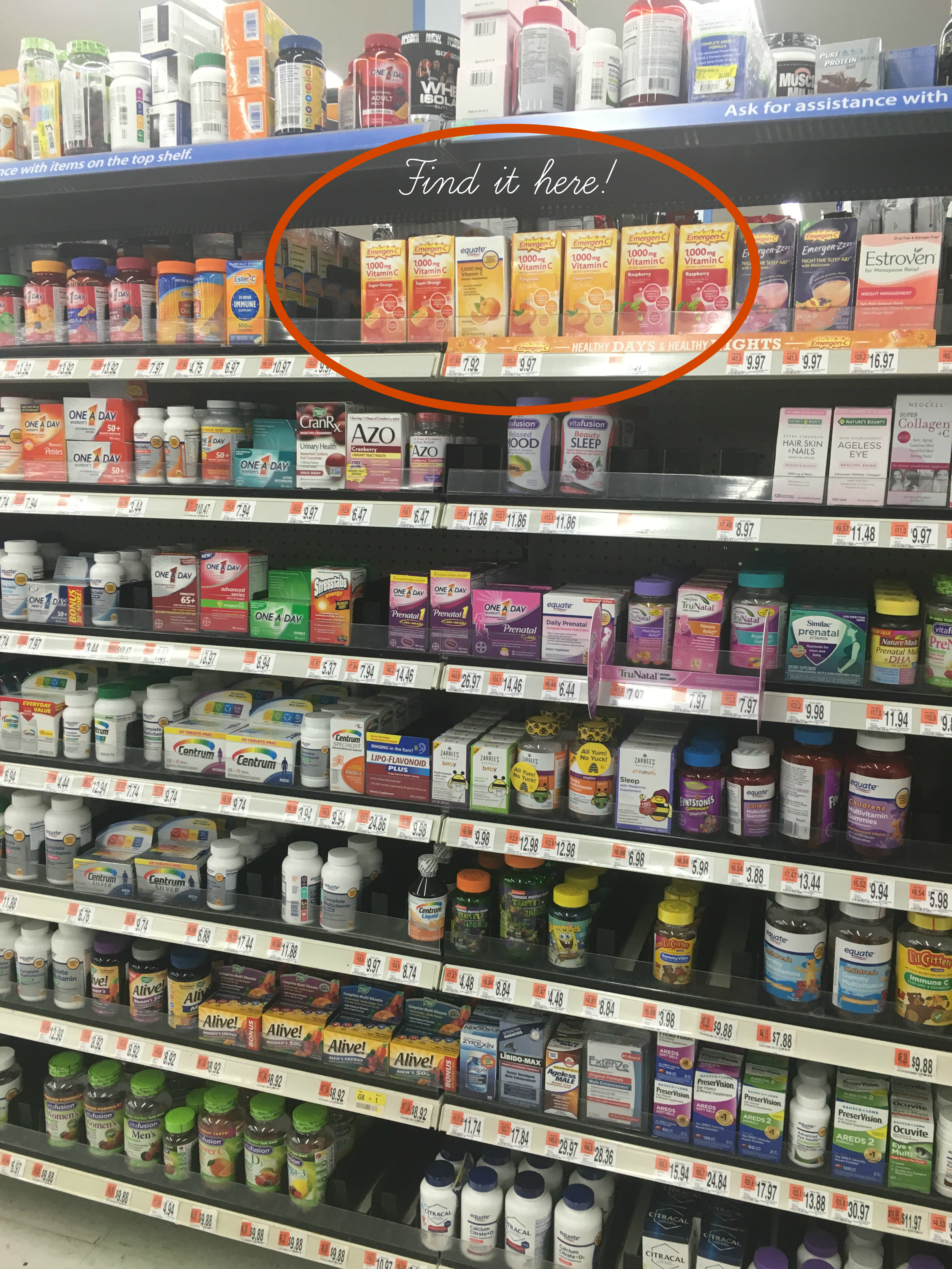 Find Emergen-C in the vitamin aisle in Walmart