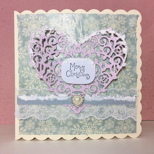 Using decoupage paper on handmade cards – christmas heart card by StickerKitten