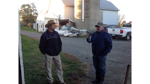 Dairy farmer Justin Geisinger with NRCS Grazing Specialist Titus Martin