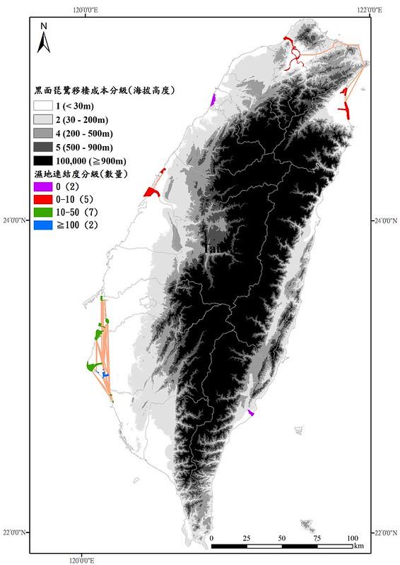 黑面琵鷺停棲重要濕地連結狀況。圖片提供:特生中心。製表:陳添水。