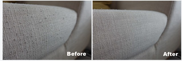 Before & After picture of using Daiso Lint Remover on my sofa.