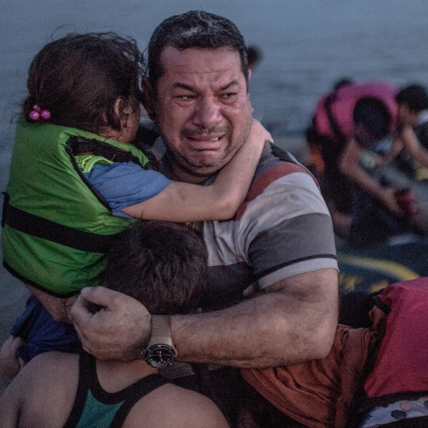 #Syrian #refugee breaks out in tears of joy, arriving on the island of #Kos in #Greece on 15 August by #DanielEtter