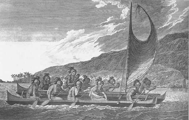 南島語族擁有優異的造船及航海術。圖為西方傳教士於夏威夷首次邂逅島上原住民時所繪。圖片來源:維基百科。