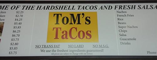 ToM's TaCos Menu