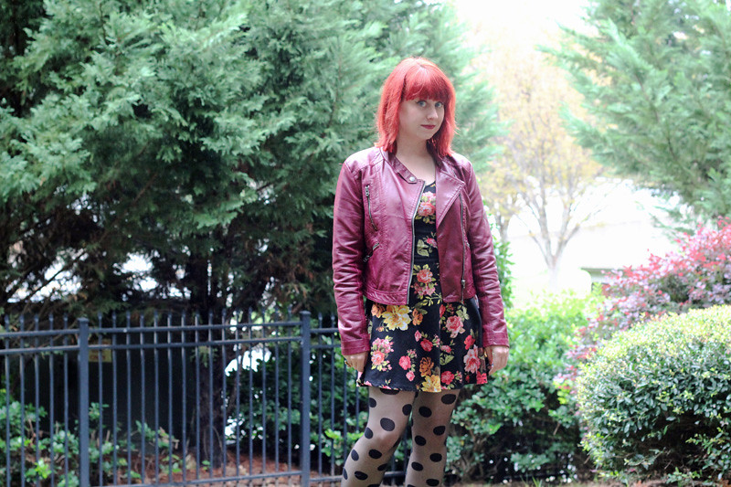 Dotted Tights, Burgundy Leather Coat, and Floral Dress