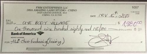 Amazing Lash Studio in Chino raised $1,980 for OBV.