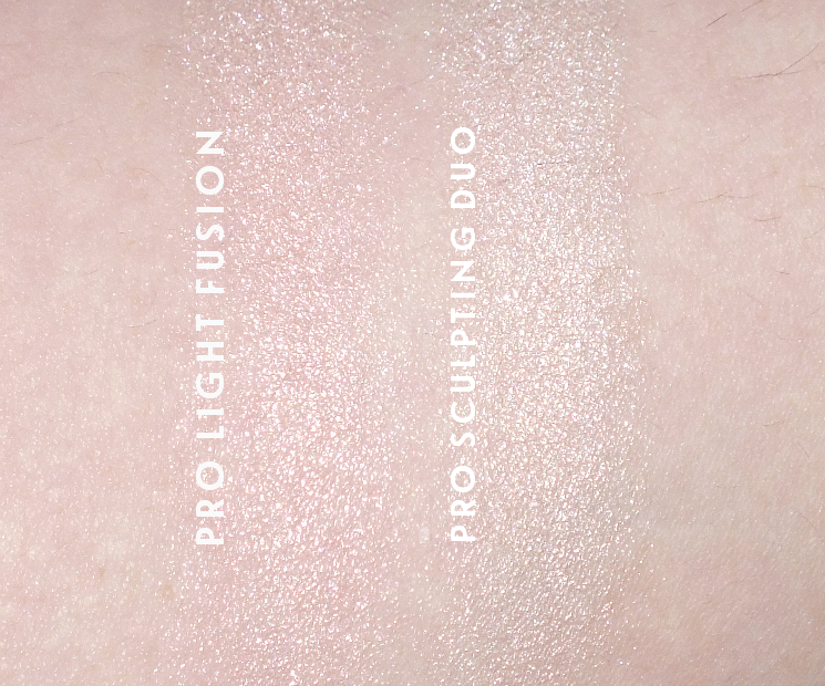 make up for ever pro light fusion 01 pink swatch vs pro sculpting duo (1)