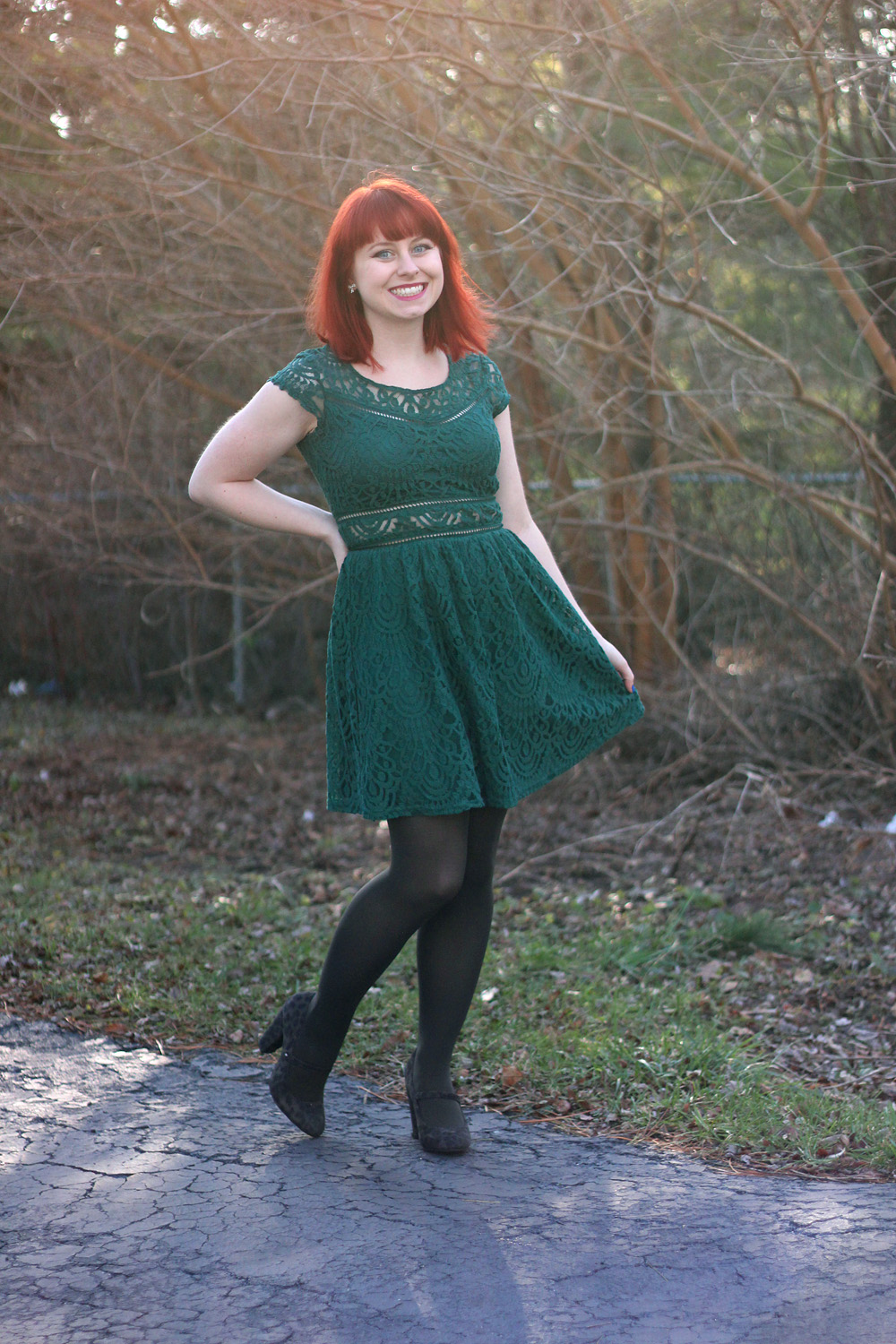 Holiday Outfit: Dark Green Lace Fit and Flare Dress, Gray Tights, and Gray Mary Jane Heels