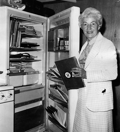 An old refrigerator, housed in Ruth Colvin's basement, became a symbol for the modest beginnings of Literacy Volunteers. The non-working fridge was used to store early files and tutoring materials. Today, this image hangs in the current office located on New Street. | Provided Photo