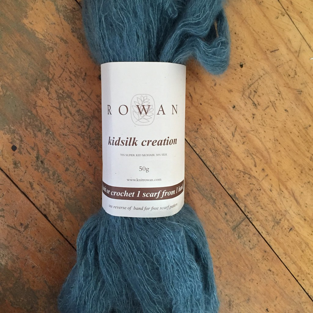 a single hank of rowan kidsilk creation in teal