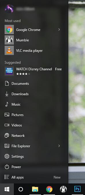 Реклама в главном меню Windows