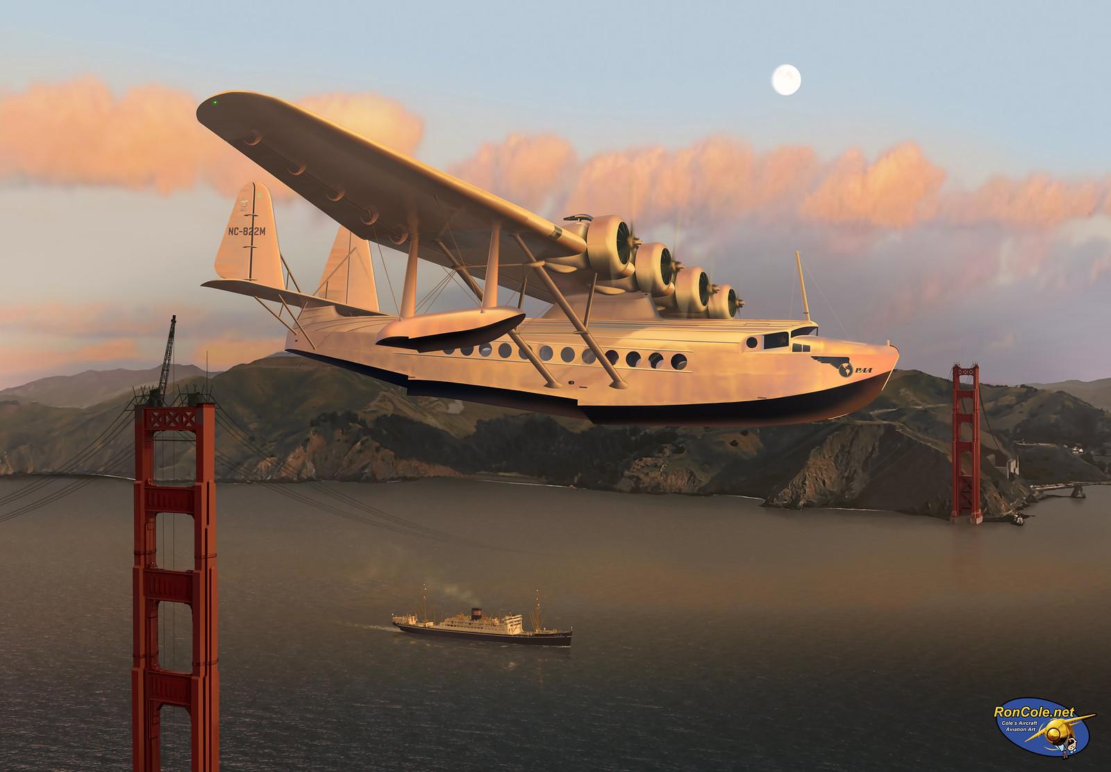 рисунок Pan Am Sikorsky S-42 over the Golden Gate Bridge
