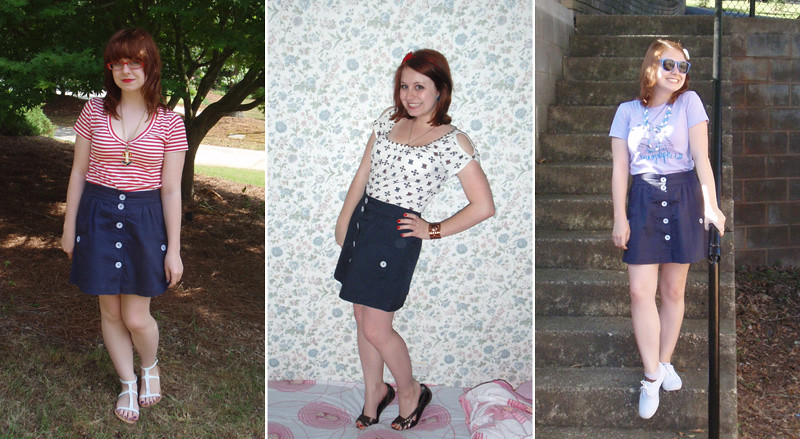 Summer Styling of a Navy Blue Button Down A-line Skirt
