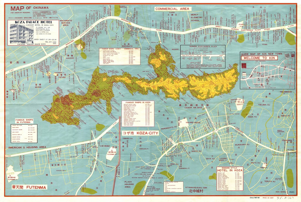 okinawa map  u0026quot for american personel u0026quot  during the late 1960s