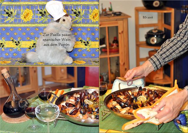 Chefköchin Karla Kunstwadl bereitet eine Paella Marinera zu - wunderschön bunt und farbenfroh mit viel Gemüse, Safran, Paella-Reis und Meeresfrüchten. Buen provecho! Zur Paella empfiehlt Karla spanischen Rotwein. Aus dem Porrón schmeckt er ganz besonders gut. Salud, Karla! ... Fotos und Collagen: Brigitte Stolle 2016