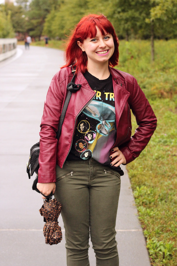 Burgundy Leather Moto Jacket, Star Trek TOS Muscle T-shirt, and Khaki Green Jeans