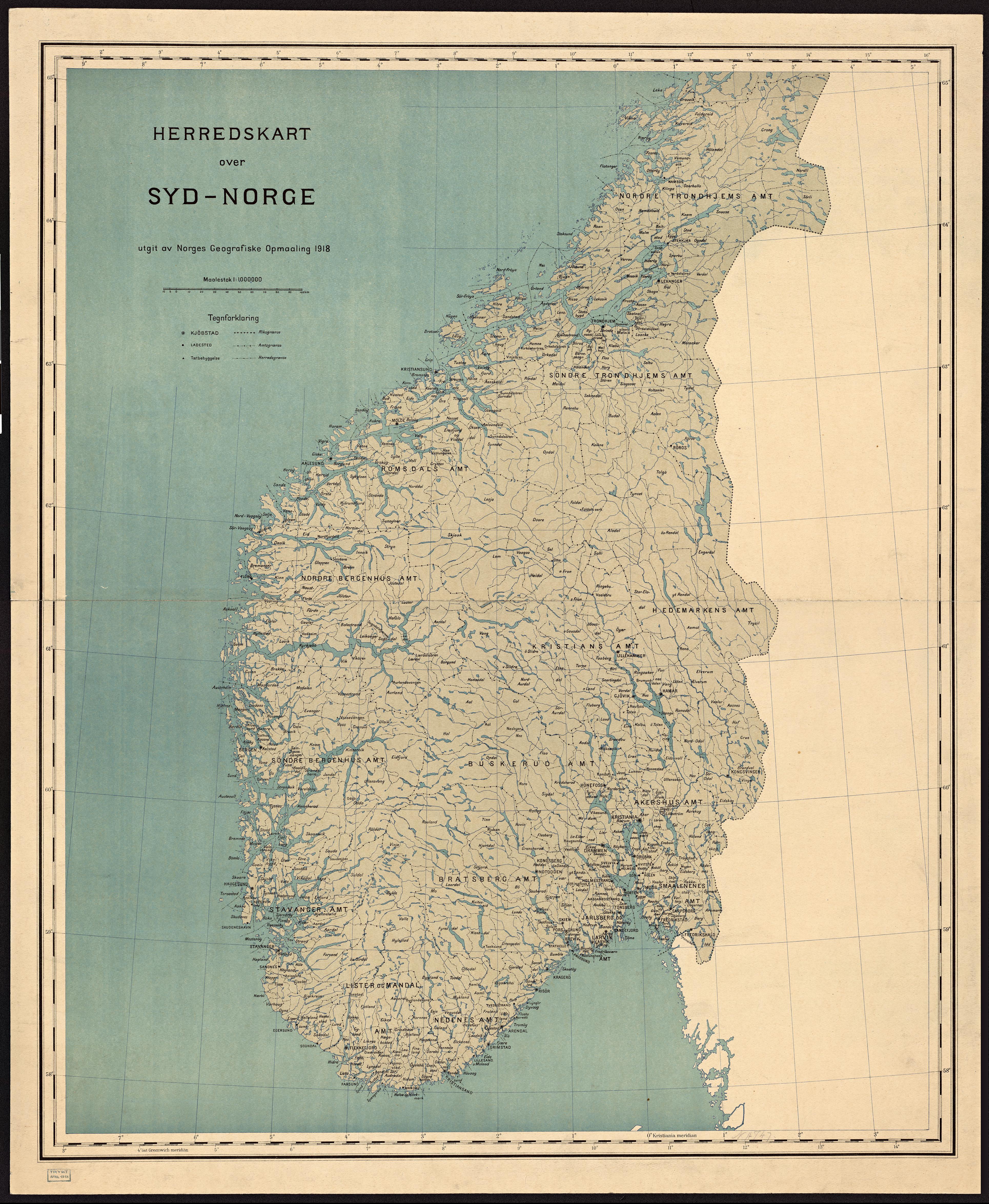 Kart Over Norske Kommuner I 1918 Norge