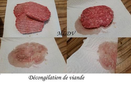 décongélation de la viande