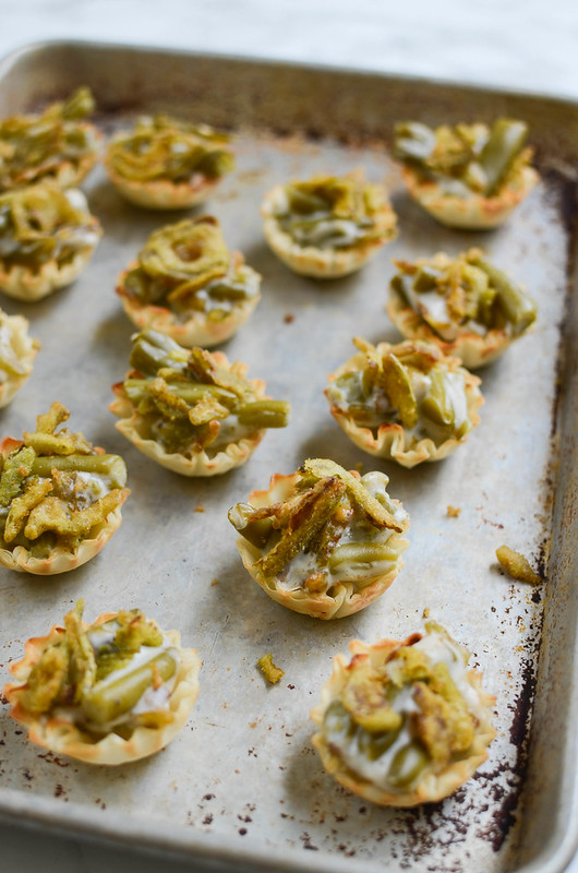 Green Bean Casserole Phyllo Bites - a bite-size twist on the classic! With crispy jalapenos on top!