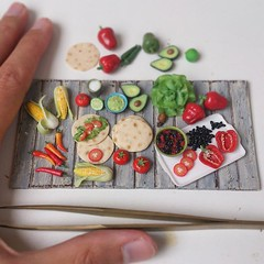 #Miniature food #art in the making.  I think I have enough to compose with. 😃 I've sculpted everything from #polymerclay but for the 3 ceramic bowls that are from Tanja @sugarcharmshop