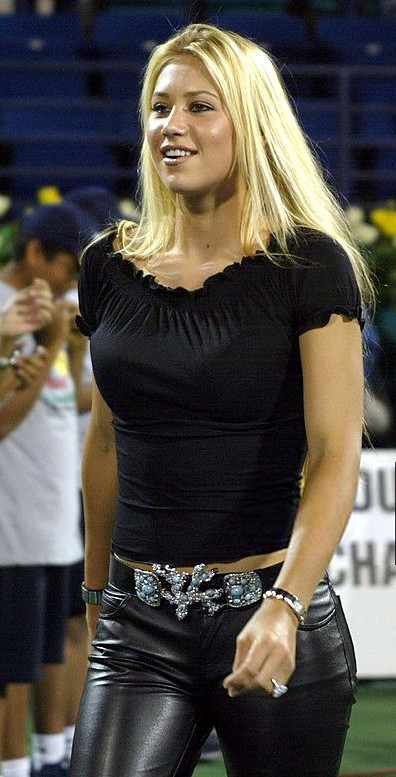 Anna Kournikova In Leather Pants Anna Kournikova Wearing