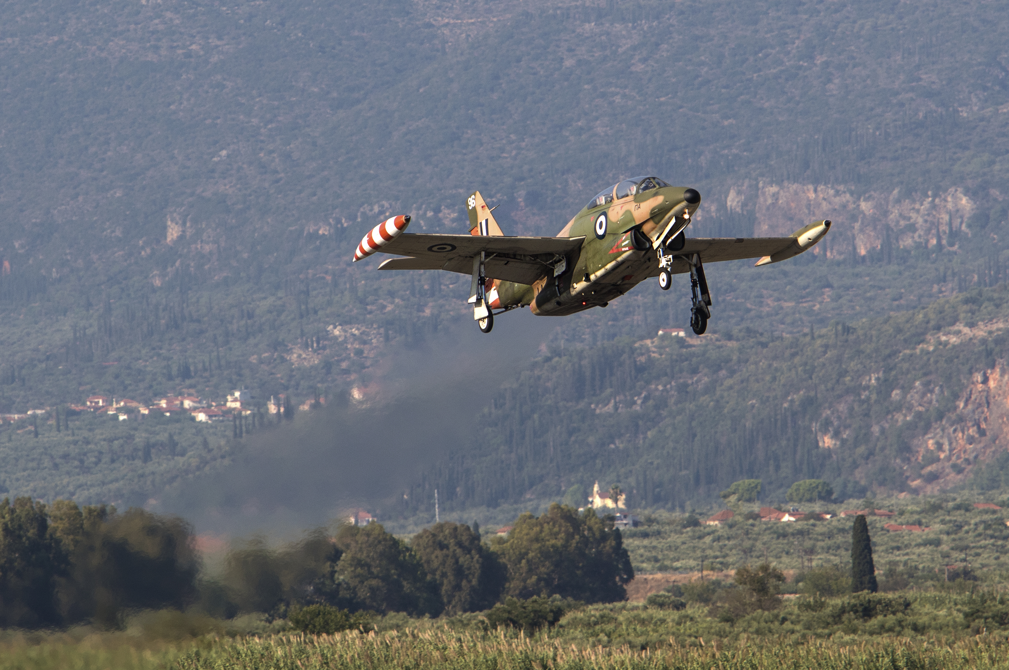 Hellenic Air Force Rockwell T-2E Buckeye trainer taking off from Kalamata AB, Greece