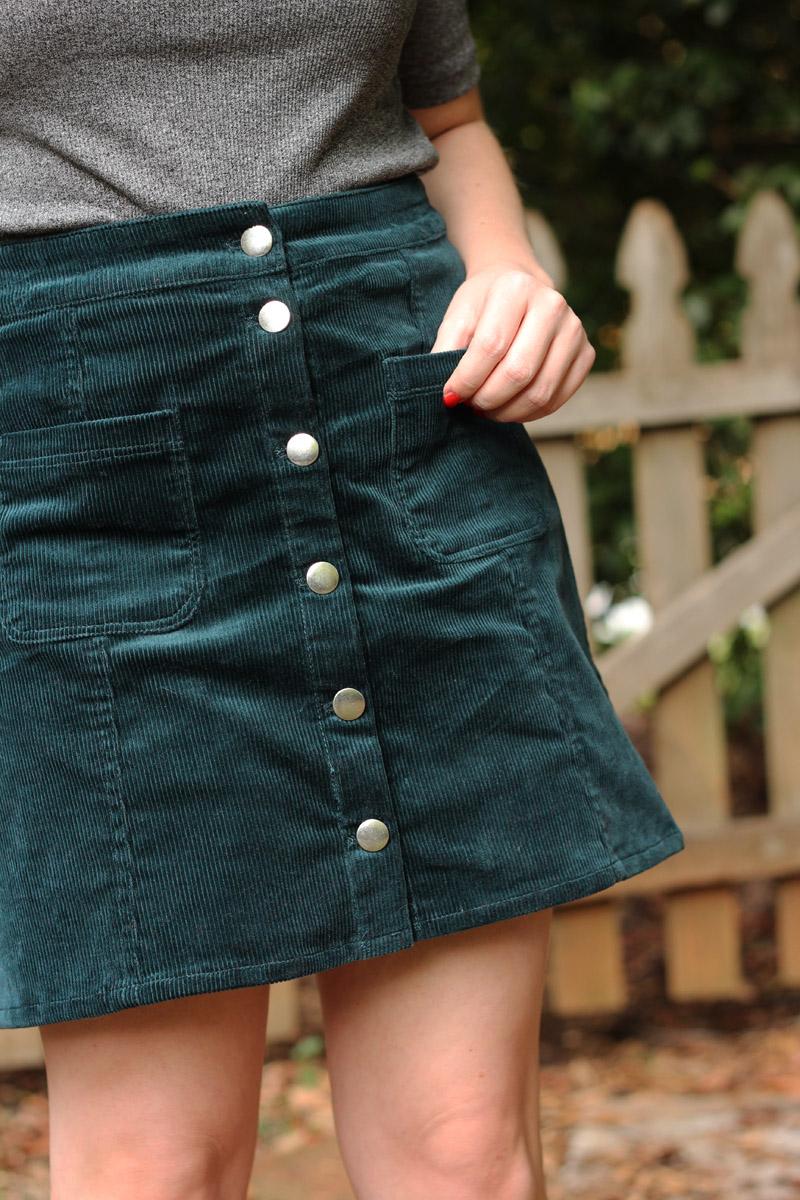 Dark Green Corduroy HM Button Through Skirt