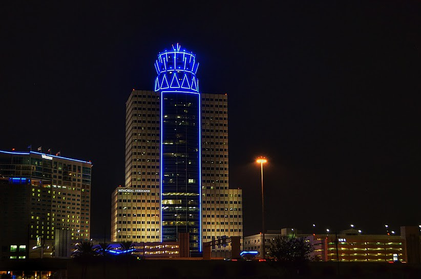 Memorial Hermann Illuminated At Night Citycentre Is An