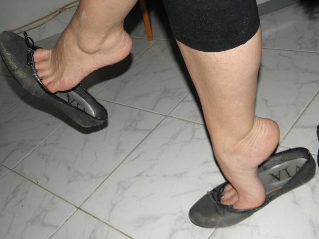 Candid Nylons Flat Shoes