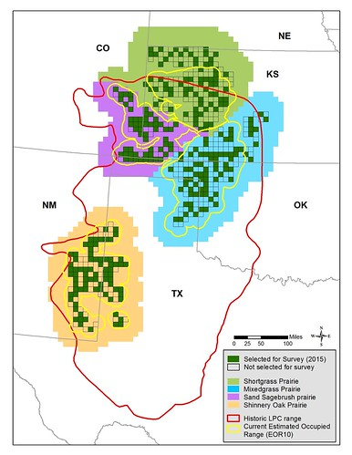 Map of current and historical range of the lesser prairie-chicken
