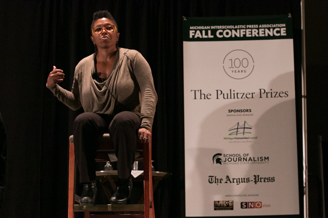 Nichole Christian, who contributed to the New York Times Pulitzer-winning coverage of the Sept. 11 terrorist attacks, speaks to students at the 2016 MIPA Fall Conference on Oct. 24, 2016. Photo by Emily Elconnin