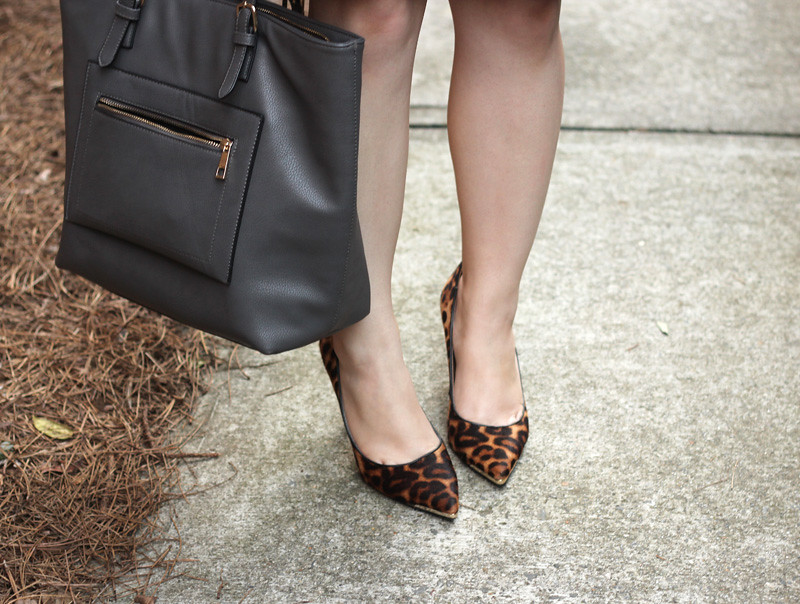 Leopard Print Pointed Pumps and a Gray Tote Bag