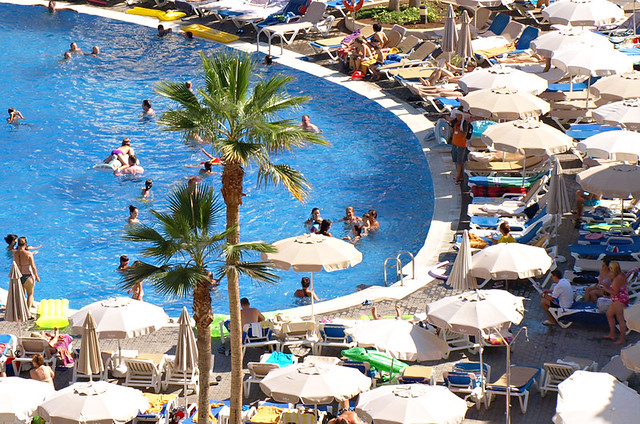Busy swimming pool, Costa Adeje, Tenerife
