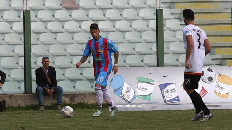 Andrea Russotto in azione a Messina nel corso della gara di Coppa Italia