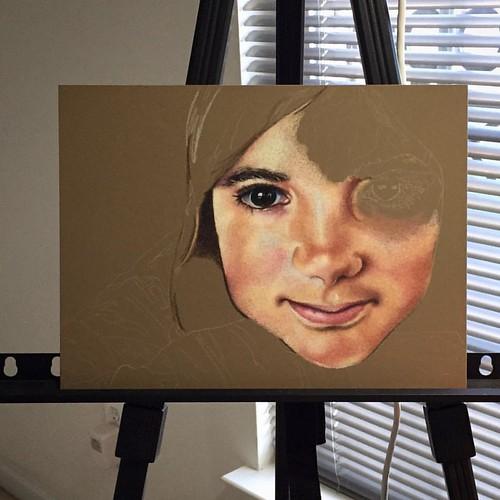 In progress colored pencil portrait entitled Clara, 9