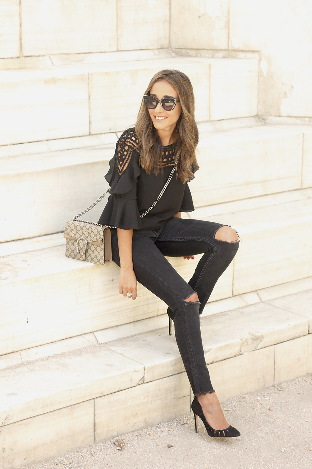 black top black jeans heels gucci bag sunnies outfit fashion style03