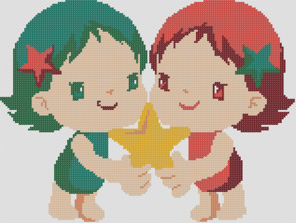 Preview of Cross Stitch Patterns: Baby Gemini (Baby Zodiac Series)