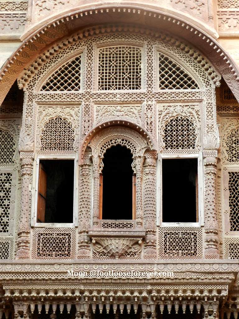 balcony, mehrangarh fort, jodhpur, rajasthan, stone lattice work
