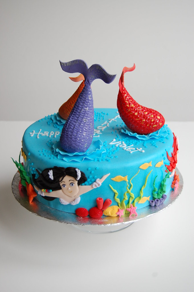 Violet S Mermaid Birthday Cake Vertical View Based On
