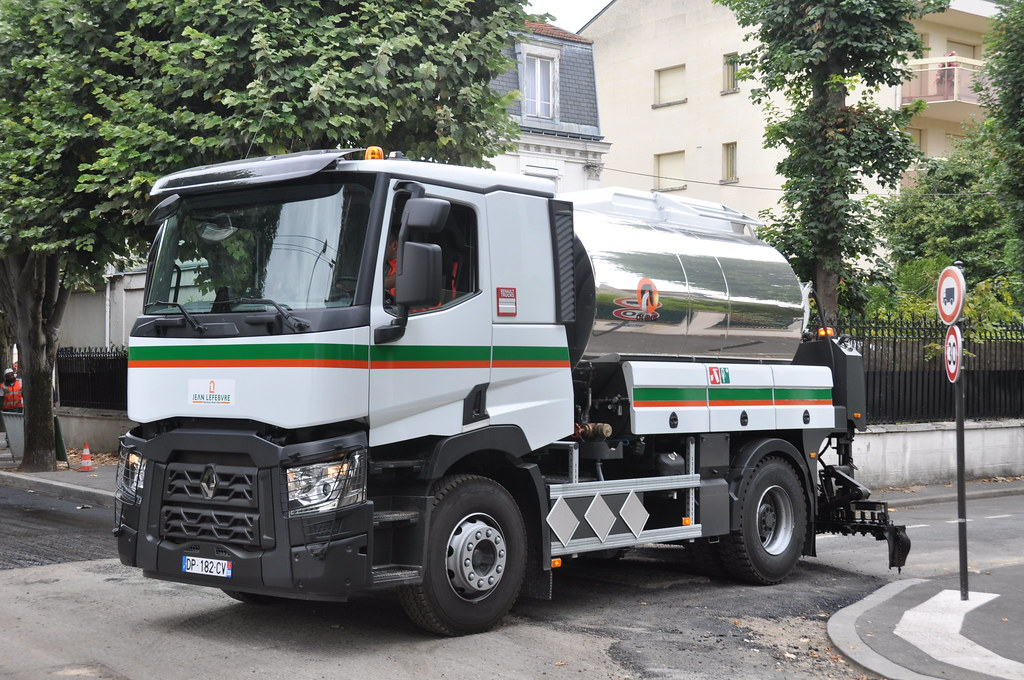 renault truck c 380 night day cab avec une pandeuse acm flickr. Black Bedroom Furniture Sets. Home Design Ideas