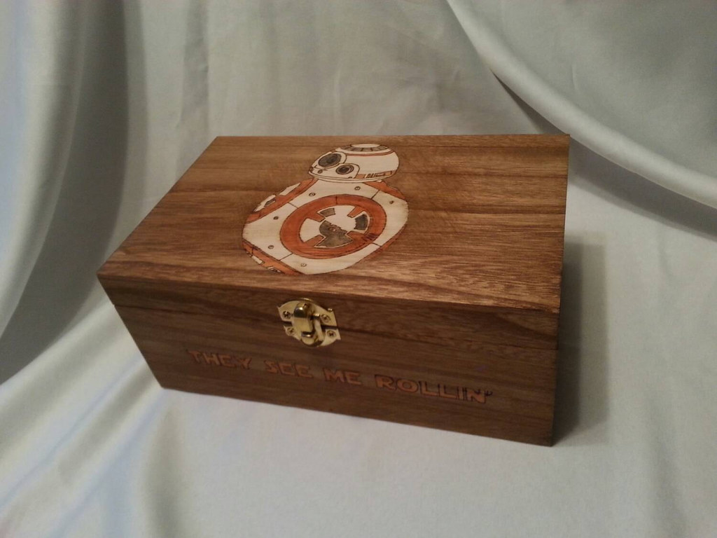 Star Wars: The Force Awakens BB-8 woodburned keepsake box by Kathleen Kaderabek