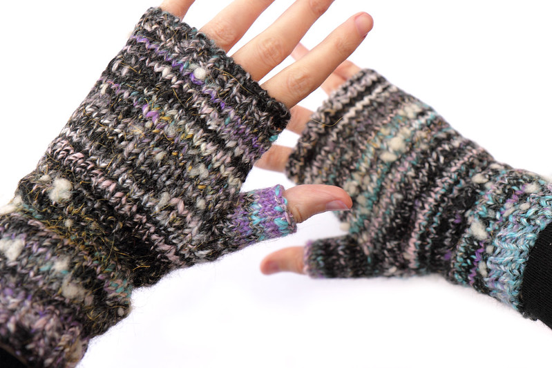 Handspun mittens created with Mitt-o-matic